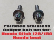 Polished Stainless Caliper bolt set for Honda Click 125/150 Honda beat (Zachary 08)