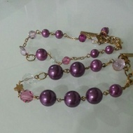 ANNA SUI 紫色珍珠金色手鍊 兩條一組