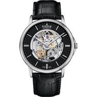 【EDOX 伊度】Les Bemonts 系列自動鏤空機械錶-黑/42mm(E85300.3.NIN)