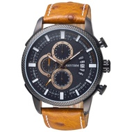 【RHYTHM 麗聲】大自然系列三眼計時手錶-黑x咖啡錶帶/46mm(SI1607L03)