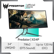Predator X34P 34-Inch UltraWide QHD IPS Curved Monitor up to 120Hz Refresh Rate (OC)