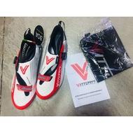 【GLG Sport】義大利手工製造 Vittoria TRI Pro 碳纖維 三鐵卡鞋 公路車 卡鞋  白紅