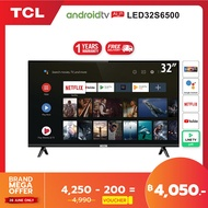 TCL ทีวี 32 นิ้ว LED Wifi HD 720P Android 8.0 Smart TV (รุ่น 32S6500)-HDMI-USB-DTS-google assistant &amp Netflix &ampYoutube0-1.5G RAM+8GROM แถมฟรี Voice Search remote / Android TV