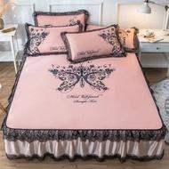 床裙冰絲席涼席三件套1.8m床夏季可水洗折疊夏天空調軟席子1.5米2 MKS