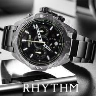 【RHYTHM 麗聲】日本鐵甲武士計時手錶(鐵灰綠針45mm)