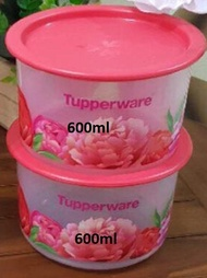 2pcs/set Tupperware Peonies one touch container 600ml ( 2)