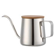 350Ml Long Narrow Spout Coffee Pot Gooseneck Kettle Stainless Steel Hand Drip Kettle Pour Over Coffee And Tea Pot With Wooden Cover