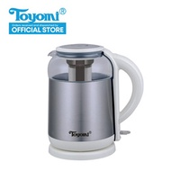 TOYOMI Glass Kettle Jug  / Flask 1.8L [Model: WK 3362] - Warranty Set. 1 Year Warranty.