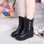 內增高加絨馬丁靴女秋冬新款厚底中筒靴歐美英倫風女靴短筒靴