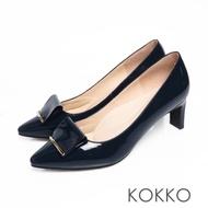 KOKKO優雅品味小方頭牛漆皮舒壓鞋墊扁跟鞋經典藍