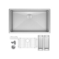 Amazon Bestseller Zuhne Modena 28 Inch or 70 cm Modern Undermount Single Bowl 16 Gauge Stainless Steel Kitchen Sink with Grid Protector, Colander Set, Caddy, Strainer and Mounting Hardware