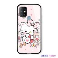 Casing Casing untuk Infinix Hot 10 Case S Kartun untuk Anak Perempuan Casing Hello Kitty KT Kucing Glossy Kaca Antigores Kembali Casing Kover Soft Case Back Cover Hard Case untuk Laki-laki Perempuan Pria Wanita