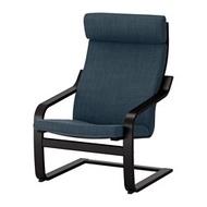 IKEA POÄNG 扶手椅, 黑棕色/hillared 深藍色