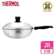 【THERMOS 膳魔師】晶鑽達人原味鍋不鏽鋼單柄炒鍋28cm(K23N-F28)