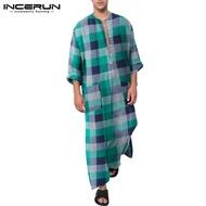 (Muslim) INCERUN Pakaian Vintage Muslim Pria Tunik Judba Kaftan Islami Arab Saudi Tiga Warna