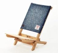 A.NATIVE 戶外露營野餐木製折疊地椅 /哈里斯毛料/藍