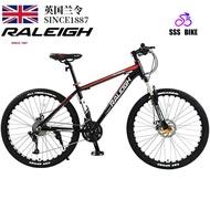 England (Raleigh) Mountain Bike Variable Speed 24/26 Inch 21/24/27/30 Speed Disc Brake Shock Absorption Unisex Off-Road Racing High Carbon Steel Road Bike Spoke Wheel
