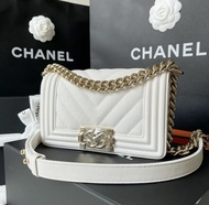 "New Chanel Boy 8"" Chevron Caviar Holo29 Full Set"