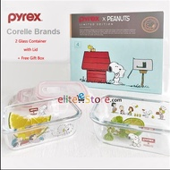 Authentic Corelle Brands Pyrex Peanuts Snoopy Snapware 345ml & 630ml Glass Food Storage Microwaveable Lunch Box limited edition Gift Box set