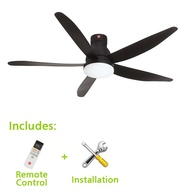 KDK Ceiling Fan 60inch with Installation, Short Pipe, 5 Blades, Remote Control
