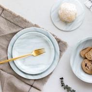 肆月。玉檀 創意大理石紋路陶瓷餐具西餐盤子牛排盤家用菜盤湯盤1入