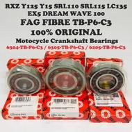 FAG FIBRE ( TB.P6 C3 ) Crankshaft Bearing RXZ135 Y125 Y15 SRL110 SRL115 LC135 EX5 WAVE100 100% ORIGINAL 6205 6304 6305