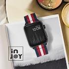 Apple Watch Series 1 2 Series 3 Series4 Series5 Series6 42 / 44mm 舒適中性尼龍錶帶-白藍紅條紋