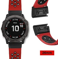YOOSIDE Watch Band for Garmin Fenix 6X/Fenix 5X, 26mm QuickFit Silicone Sport Waterproof Wrist Band for Garmin Fenix 6X Pro/Sapphire,Fenix 3/Fenix 3 hr, Fenix 5X/5X Plus,Tactix Bravo (Red Black)