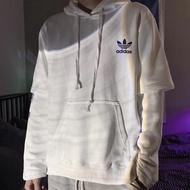 Adidas 三葉草復古假兩件連帽衛衣
