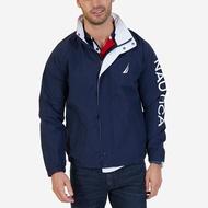 美國百分百【全新真品】NAUTICA 帆船牌 外套 運動外套 立領 夾克 風衣 logo 防風 深藍 XS號 J492
