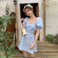 Women's New French Bubble Sleeves Pure Mature and Unique Square Neck Design-oriented Dress