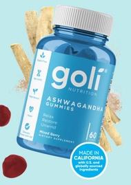 ASHWA Vitamin Gummy by Goli Nutrition - Ashwagandha Gummies - Relax. Restore. Unwind. (Mixed Berry, KSM-66, Vegan, Plant Based, Non-GMO, Gluten-Free & Gelatin Free - 60 Count