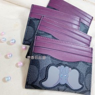 【COACH 】DISNEY 迪士尼 小飛象 滿版老花 黑灰 紫色 立體圖案 卡套 卡包 信用卡夾