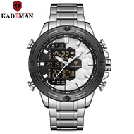 KADEMAN K9070 New Soccer Inspire Sport Watch Fashion Full Steel Wristwatches Dual Movement LCD Men Watch