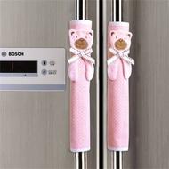 ZTTEBE ถุงมือผ้าสองประตูสำหรับใส่ตู้เย็น,ผ้าคอตตอนแต่งลายจุดคลื่นจำนวน1คู่