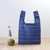 【美日袋】環保購物袋-藍色條紋 (便當袋/小提袋)-可摺疊收納