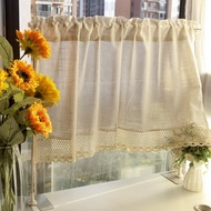 Kitchen Tier Curtains Rod Pocket Linen Like Privacy Semi Sheer Drapes Half Window Curtain Panels Rod Pocket Curtains