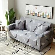 ผ้าคลุมโซฟา ผ้ายืดพิมพ์ลายขนนกสีเทา