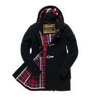 跩狗嚴選 極度乾燥 Superdry Duffle Pea Coat 牛角扣 連帽 黑 羊毛大衣 格紋內裡 外套