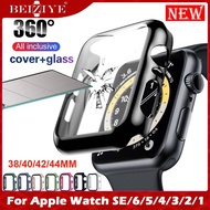 Case+Tempered Glass กระจกกันรอย For Apple Watch 6 SE 5 4 44mm/40mm i Watch 3 2 1 38mm 42mm กระจกนิรภัย Screen Protector coverage Bumper case for apple watch series 6 5 4 3 2 SE กรณี cover Tempered glass film acceccories