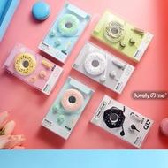 Q17耳機+甜甜圈收納盒 入耳機耳機 通話聽歌3.5mm 馬卡龍甜甜圈卡通耳機帶麥 禮品贈品娃娃機商品