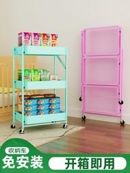免安裝折疊推車置物架廚房多層折疊收納架落地式可移動陽臺收納車