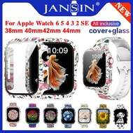 Fashion Pattern PC Hard Screen Protector Case for Apple Watch Cover Series SE 6 5 4 3 with Glass Film 40mm 44mm 38mm 42mm Tempered Glass Bumper