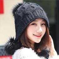【Acorn*橡果】韓系甜美大毛球保暖護耳毛帽1805(黑色)
