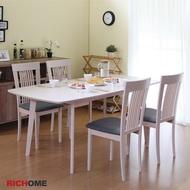 RICHOME  TA315+CH1020*4 安迪可延伸實木餐桌椅組(一桌四椅)-3色   餐桌 餐桌椅 brunch