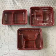hot 5pcs Bento Box Red Black Thick 2   3   4 Compartment Division Plastic Food Container