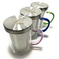 鋼蓋耐熱玻璃杯500ml【可以直火加熱】304不鏽鋼濾網泡茶杯 馬克杯 玻璃杯 咖啡杯《3557》