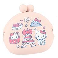 小禮堂 Hello Kitty 矽膠口金零錢包 口金包 耳機包 小物收納包 p+g design (粉 東京圖示)