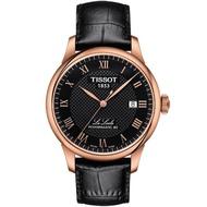 【TISSOT】天梭 Le Locle 80小時機械錶-黑x玫塊金框/39mm(T0064073605300)