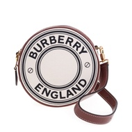 BURBERRY 新款雙色標誌圖案LOGO帆布拼皮革Louise圓餅斜背包